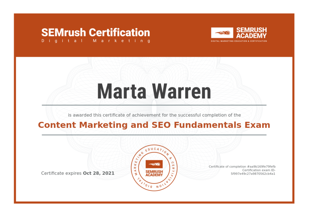 This image has an empty alt attribute; its file name is semrush-academy-certificate-content-marketing-and-seo-fundamentals.png